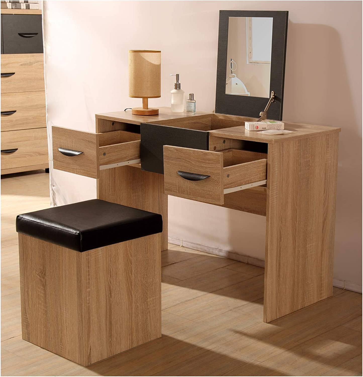 Pacific - Bedroom Furniture Sets Combination Wardrobes Bedside Tables Chests in Oak & Anthracite Grey (2 Drawer Dressing Table)
