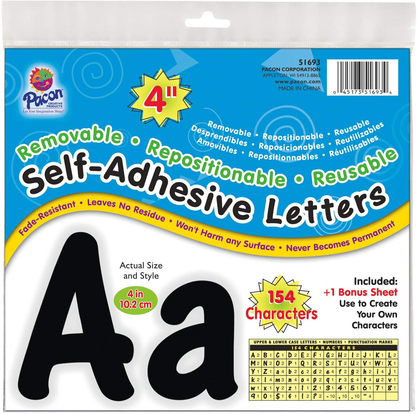 """PACON Pacon 4"""" Self-Adhesive Uppercase and Lowercase Letters, 154-Count, Black (51693)"""