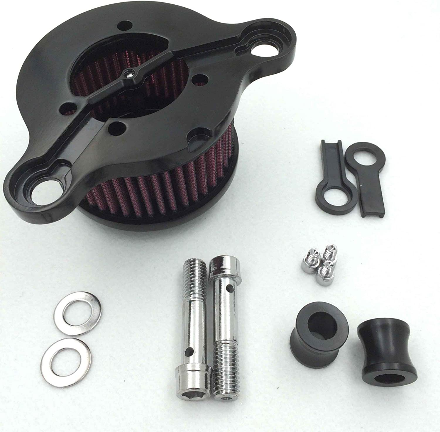 HTTMT MT225-010B Black Skull with Cross Bone Air Cleaner Intake Filter System Kit Compatible with Harley Davidson Sportster XL883 XL1200 1988 to 2015