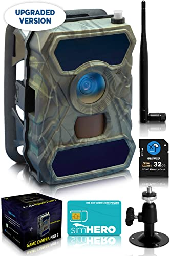 CreativeXP 3G Cellular Trail Cameras – AT T Full HD Wild Game Camera with Night Vision for Deer Hunting, Security – Wireless Waterproof and Motion Activated – Tree Mount Included 1-Pack