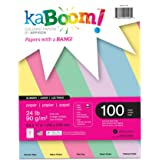 """Kaboom Glimmer Pastel Assorted Colored Paper for Creative Printing 8.5"""" x 11"""" 100 Sheets 24# 5 Pastel Colors in each pack(20533)"""