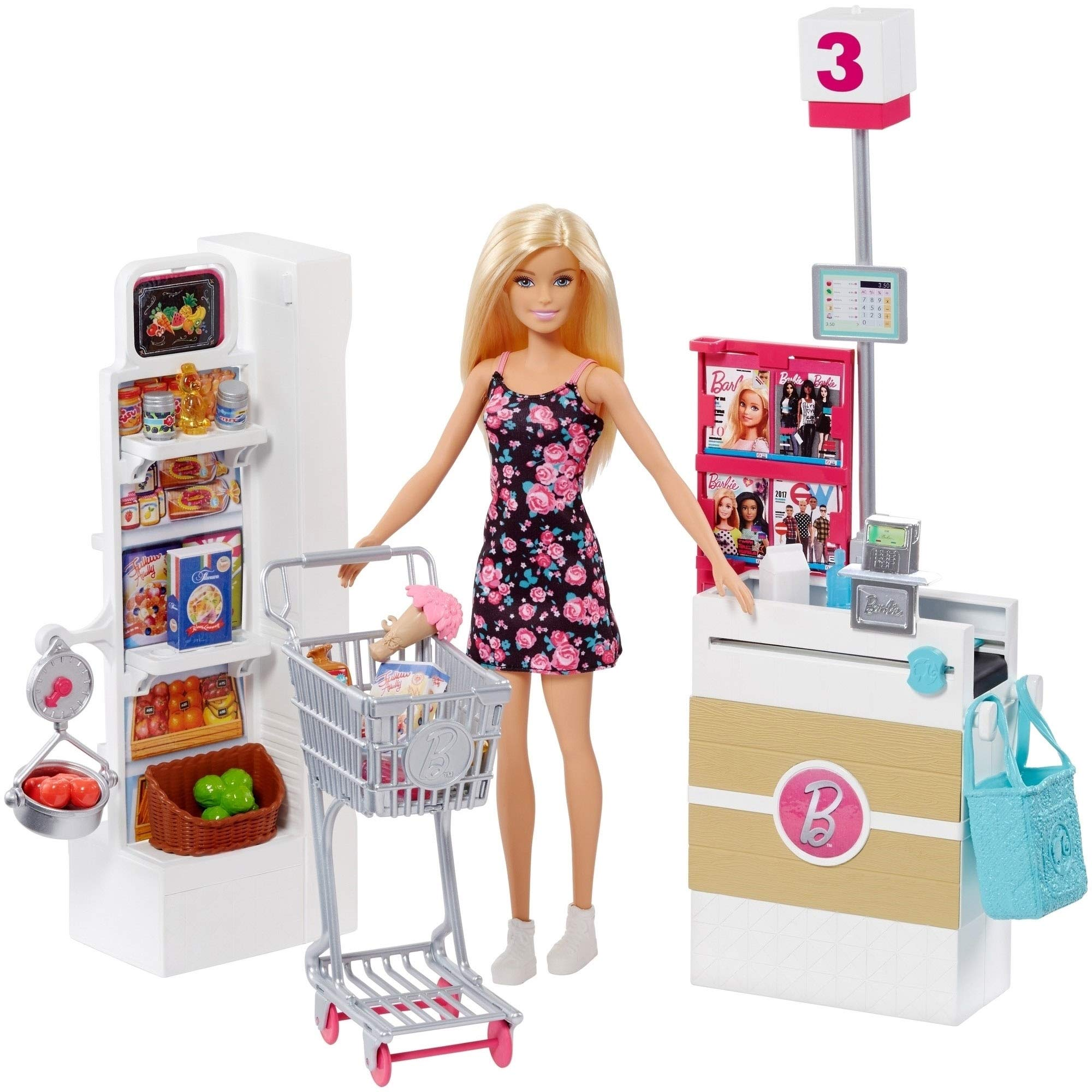 Barbie Doll, Blonde, and Grocery Store with Rolling Cart and Working Belt