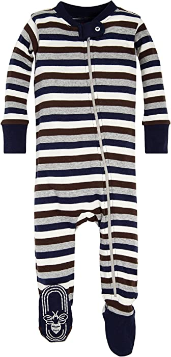 c5070a421 Amazon.com: Burt's Bees Baby Baby Boys' 1-Pack Unisex Pajamas, Zip-Front  Non-Slip Footed Sleeper PJs, Organic Cotton, Navy Multi Stripe Newborn:  Clothing