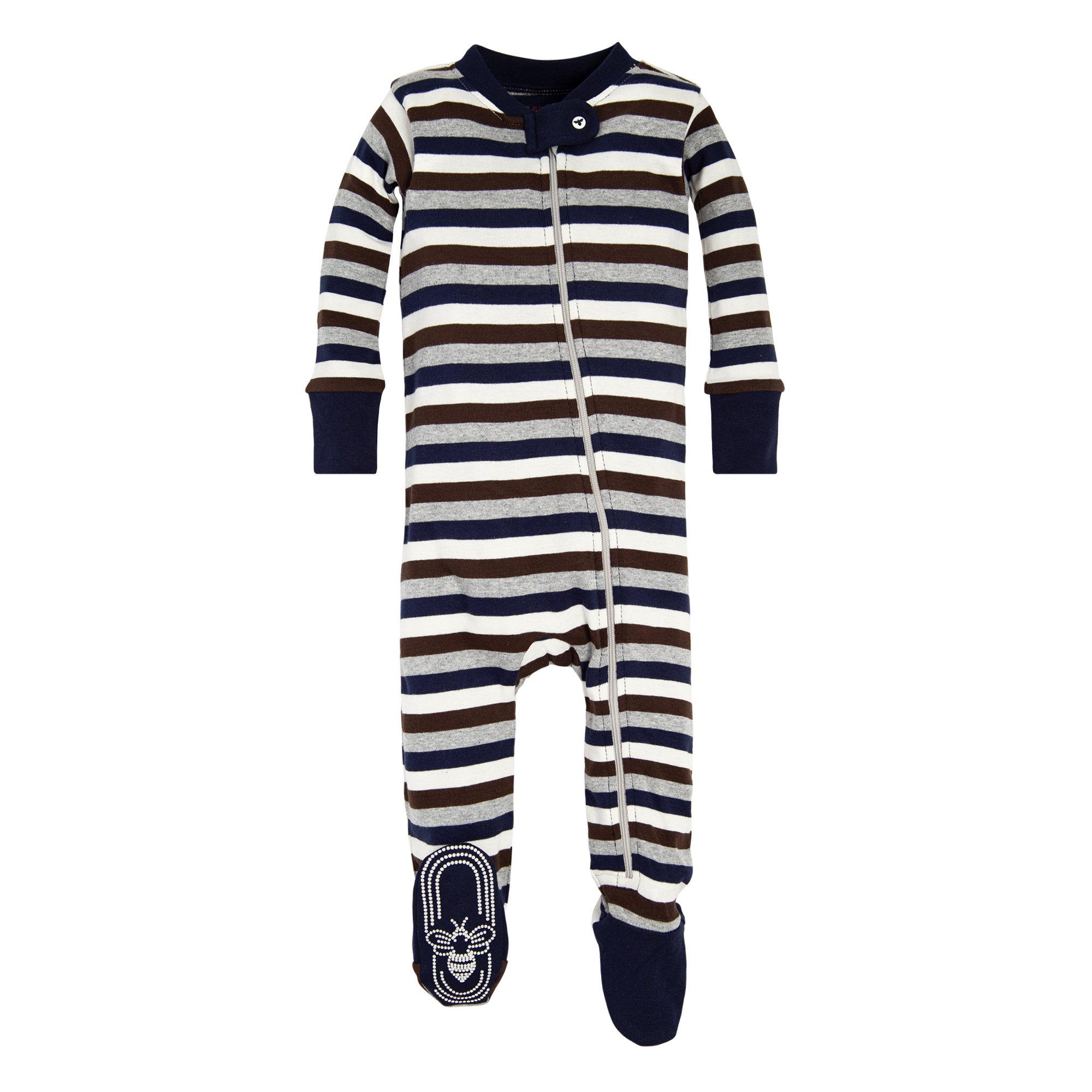 Burt's Bees Baby Baby Boys' Pajamas, Zip Front Non-Slip Footed Sleeper Pjs, 100% Organic Cotton, Midnight Multi Stripe, 3-6 Months