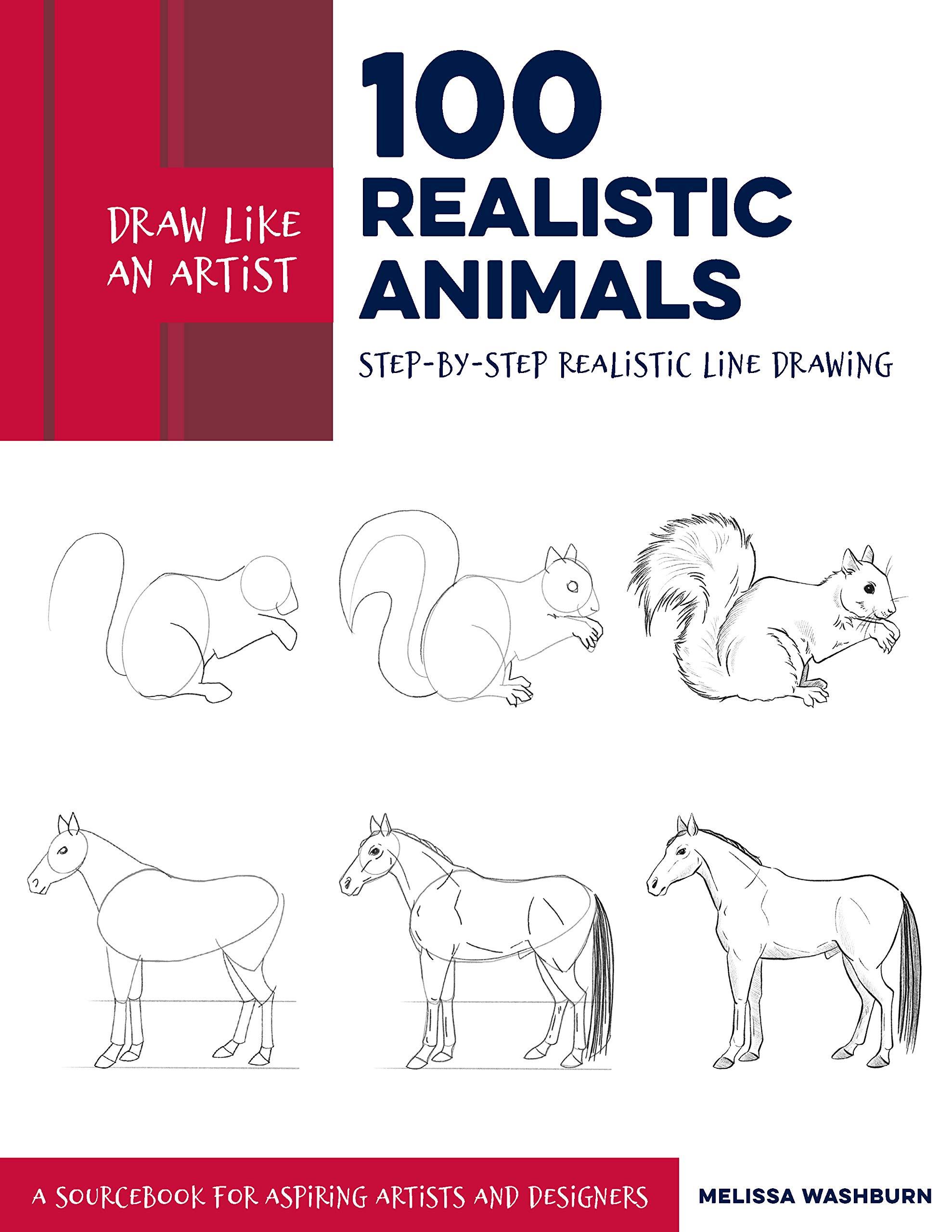 Draw like an artist 100 realistic animals paperback jan 14 2020