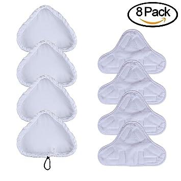 COM4SPORT - Juego de 8 recambios de microfibra para mopa de vapor, universal, lavables: Amazon.es: Hogar