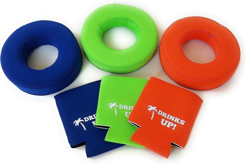 Drinks Up! Neoprene Floating Drink Holder | Drink Floats for Pool (3-Pack or 6-Pack)