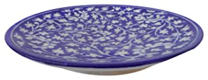 Aditya Blue Art Pottery Ceramic Decorative Wall Hanging Handmade Plate (20 cm x 20 cm x 3 cm, Blue, ABP15)