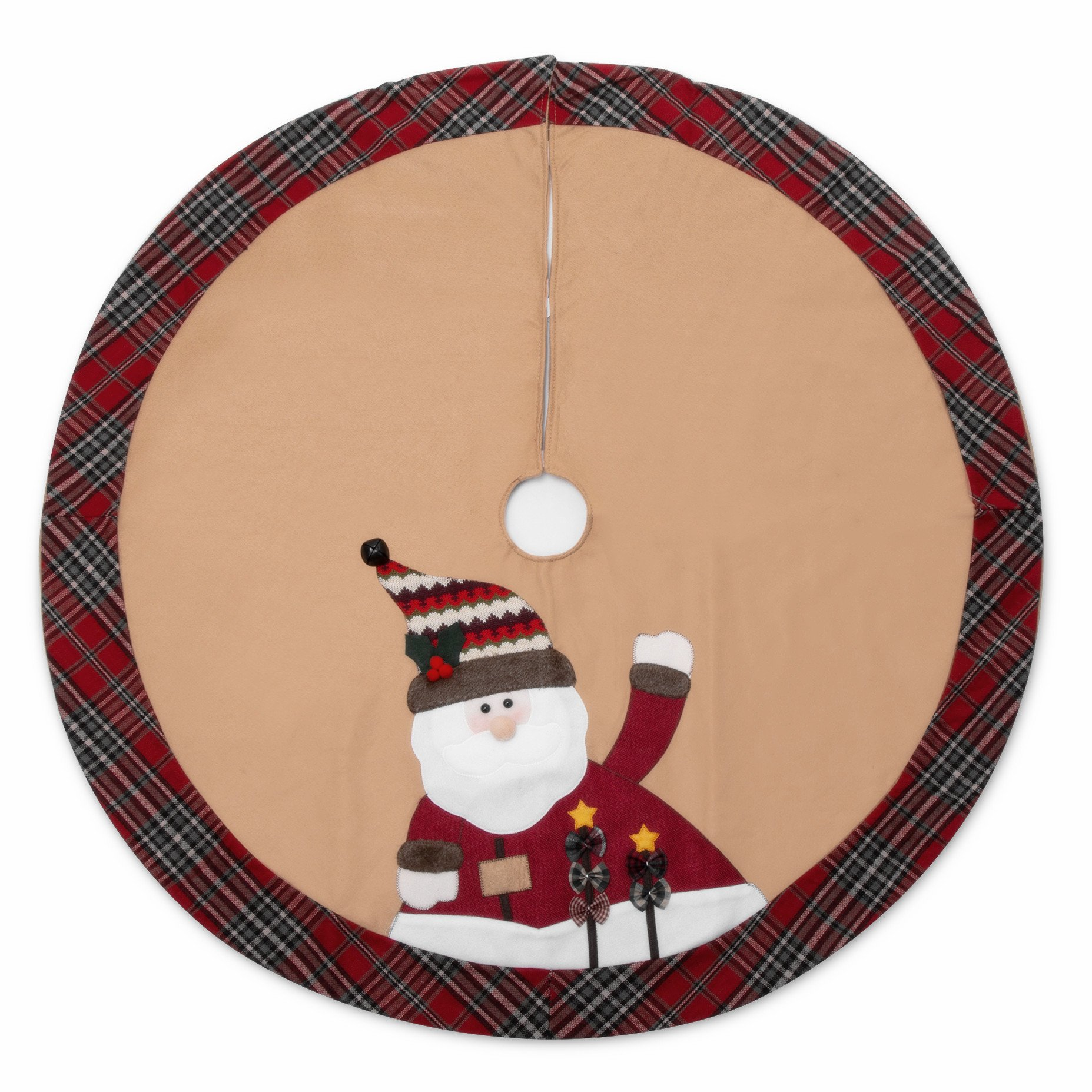 iPEGTOP 42'' Christmas Tree Skirt - Santa Xmas Tree Skirt Holiday Decoration Ornaments Camel Non-woven & Tartan Border