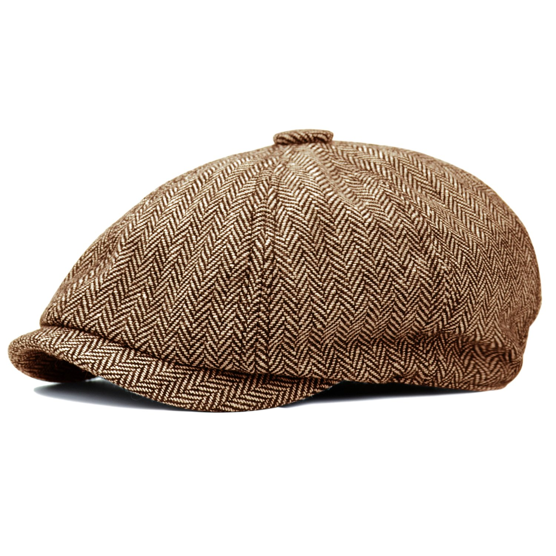 1b2691e7b53 HowYouth Mens Classic Vintage Newsboy 8 Panel Herringbone Tweed Flat Cap  Gatsby Baker Boy Hat Unisex