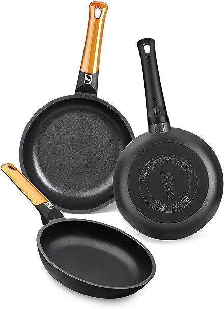 BRA Efficient Orange - Set de 3 sartenes, aluminio fundido con antiadherente tricapa libre de PFOA, para todo tipo de cocinas incluida inducción y vitrocerámica, aptas para lavavajillas, 18-22-26 cm: Amazon.es: Hogar