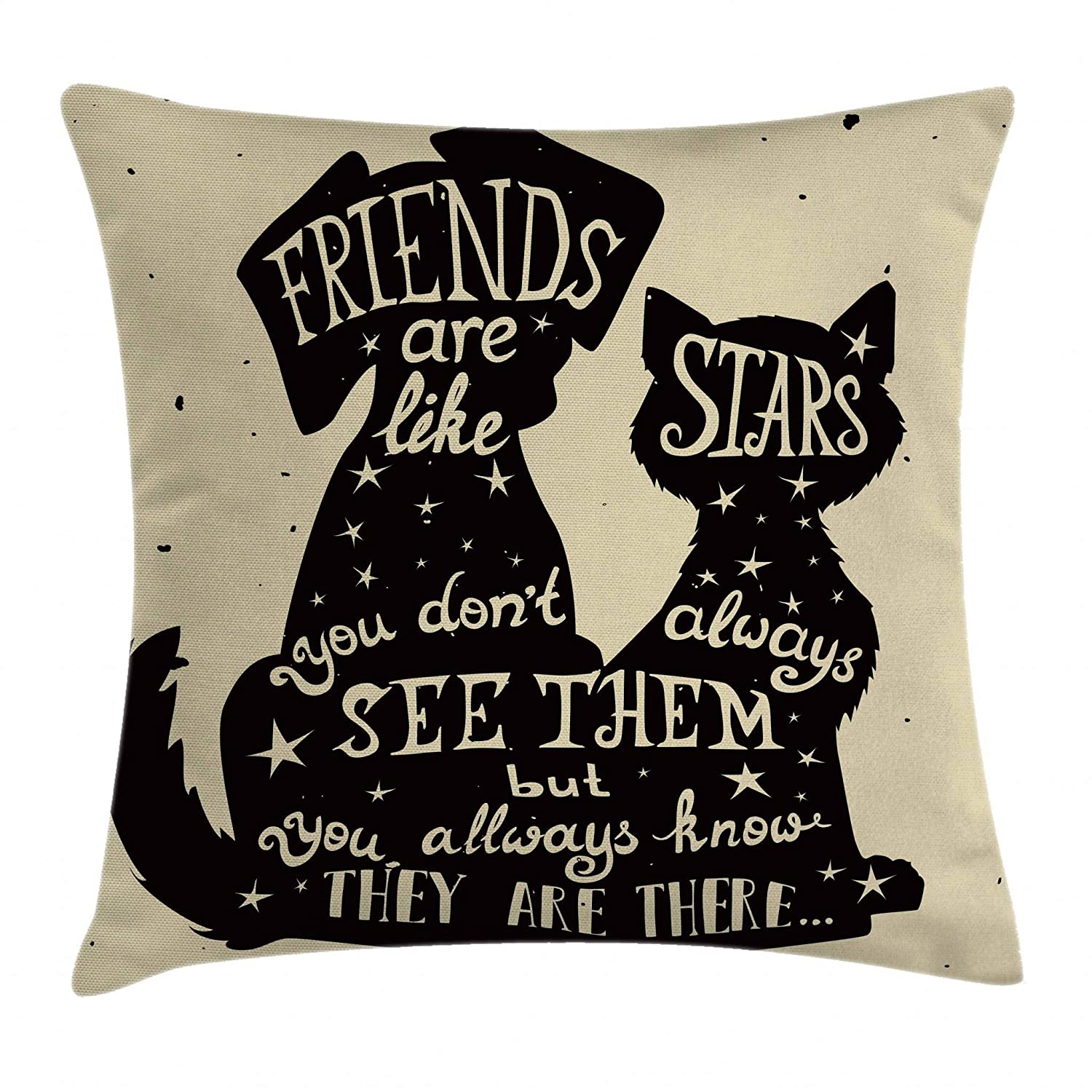 Ambesonne Inspirational Throw Pillow Cushion Cover, Cat and Dog Silhouettes with Friendship Themed Phrase ans Stars Grungy Display, Decorative Square Accent Pillow Case, 20 X 20 Inches, Black Tan