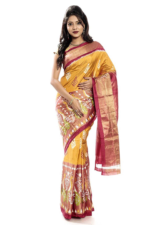 Mandakini — Indian Women's Handloom  Ikat Pure Silk Saree (TurmericYellow) (MK343)