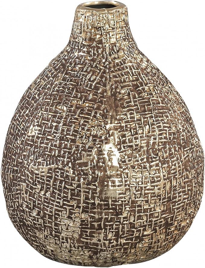 Vase Brew Champagne Keramik Pot Belly Round Small Aus Strukturierter Keramik Maße 16 0 X 12 5 X 12 5 Cm Küche Haushalt