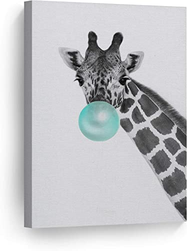 Smile Art Design Giraffe Animal Bubble Gum Art Turquoise Teal Blue Canvas Print Black and White Wall Art Home Pop Art Living Room Kids Room Decor Nursery Ready to Hang Made