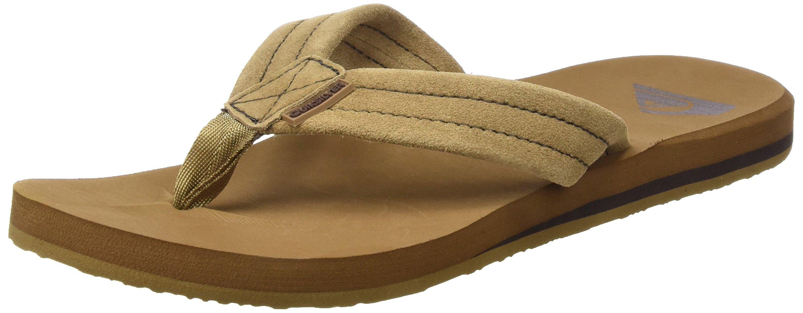 Quiksilver Men's Carver Suede 3-Point Flip-Flop, Tan/Solid, 10 M US