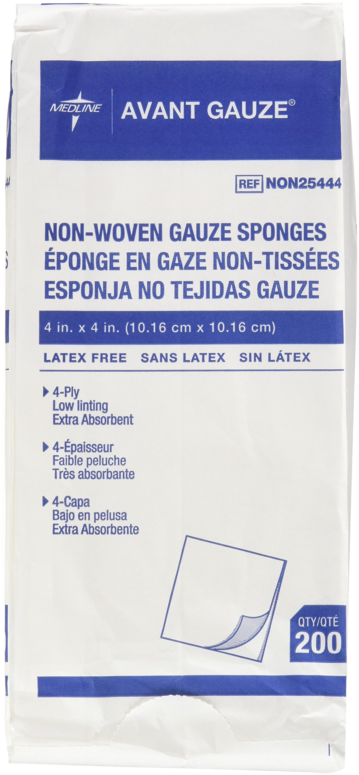 Medline Avant Gauze, Non-Woven and Non-Sterile Sponges, 4 X 4