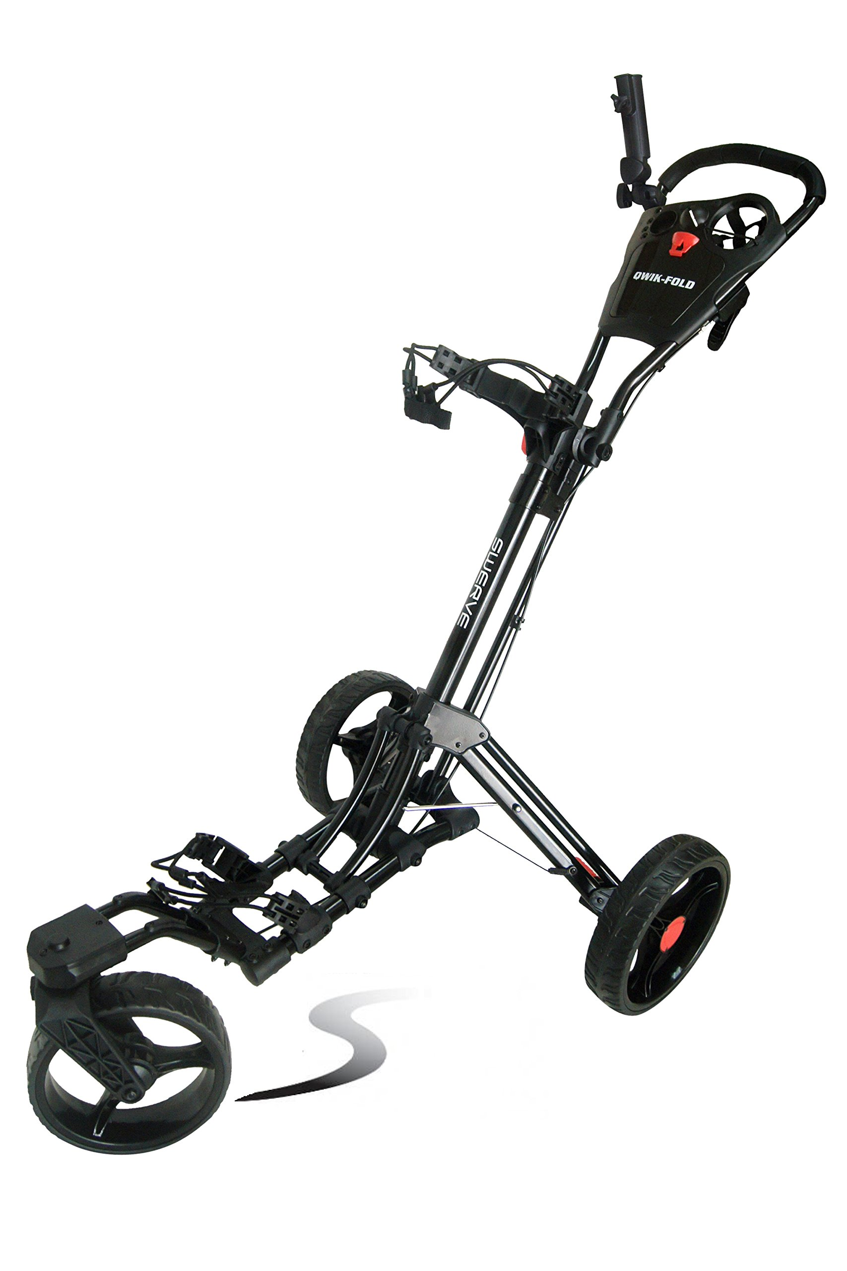 Swerve Founders Club 360 Swivel Wheel Qwik Fold Golf Push Cart (Black/Black)