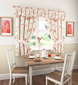 Libby Luxury Traditional Vintage Kitchen Curtains Red Poppy 46 X 42 Drop Inches 117cms