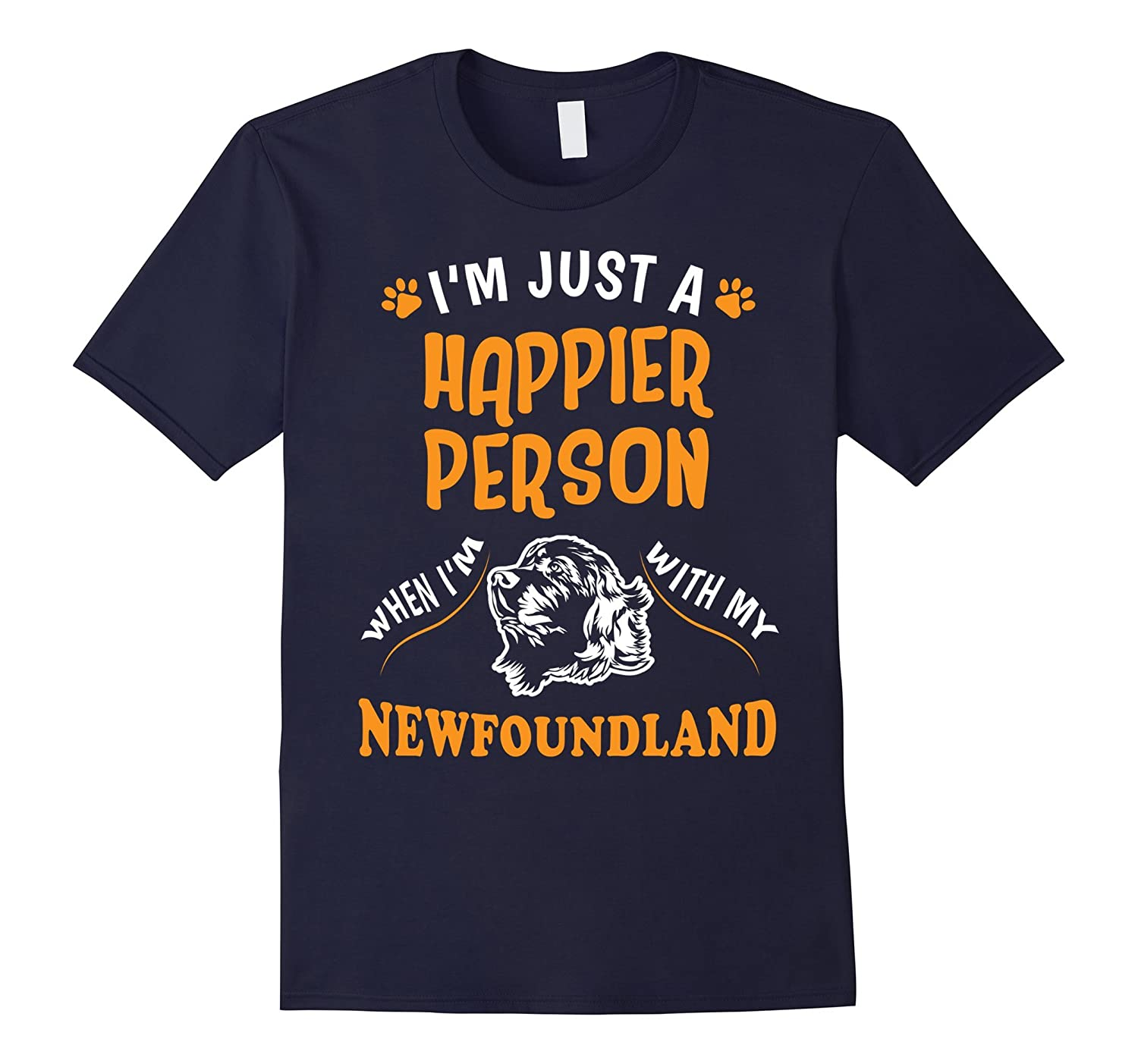 A Happier Person With My Newfoundland T-Shirt-TH