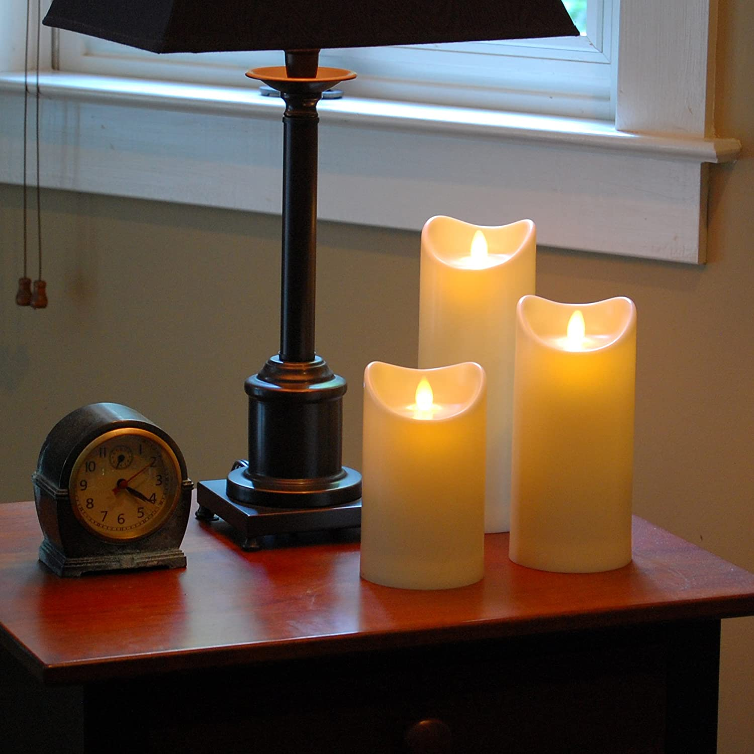 Lumabase 93101 Action Flame Battery Operated Pillar Candle 3.5 x 5 Cream 3.5 x 5