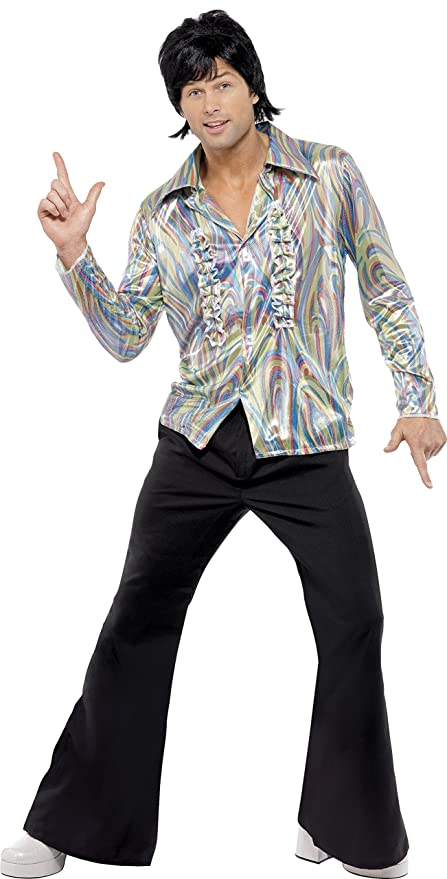 70s Costumes: Disco Costumes, Hippie Outfits Smiffys Mens 70s Retro Costume Shirt and Flare Trousers 70s Disco Fever Size: M Colour: Multi 33841 £21.98 AT vintagedancer.com