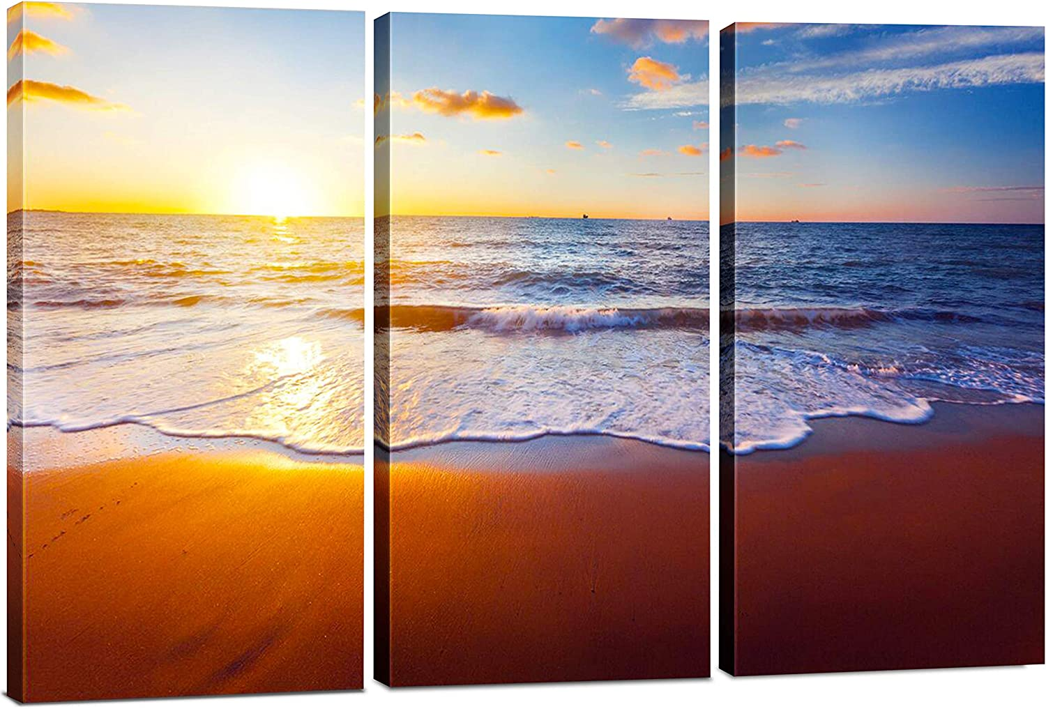 Best 3 Panel Sunset Beach Canvas Wall Art Decor, Modern 24x36 Hanging Ocean Print Photograph, Decorative Painting Artwork for Kitchen, Bedroom, Office, Living Room, Home Decor Gift for Men & Women