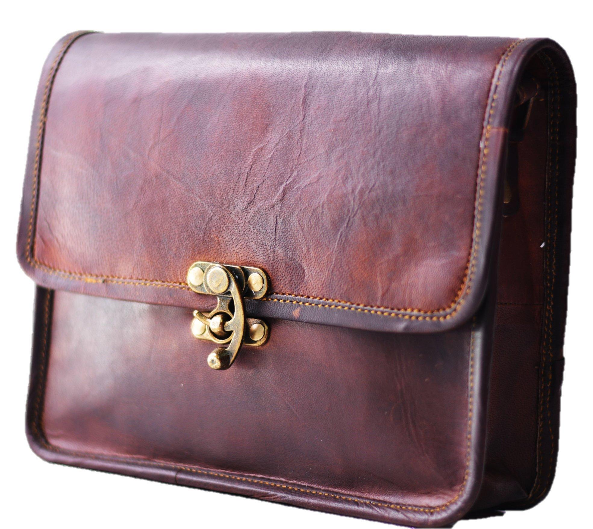 Leather Women's Hippie Leather Purse Cross-body Shoulder Bag Travel Satchel Handbag tote 9'' x 7''