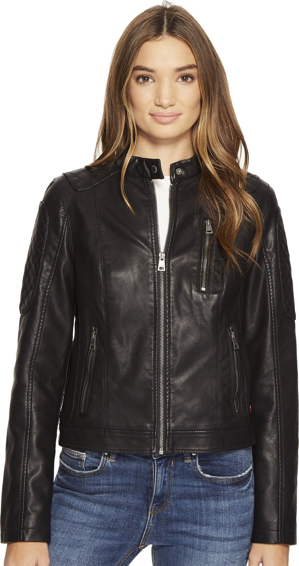 Levi's Women's Faux Leather Fashion Quilted Racer Jacket, Black, Small