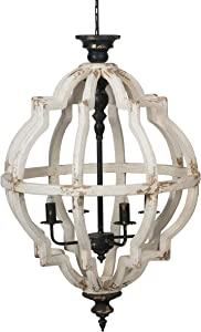 A&B Home Distressed White 4-Light Chandelier, Dimensions: 23.6L x 23.6W x 35H Inches