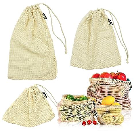 cococity Bolsas de Vegetales Reutilizables de algodón Bolsas ...
