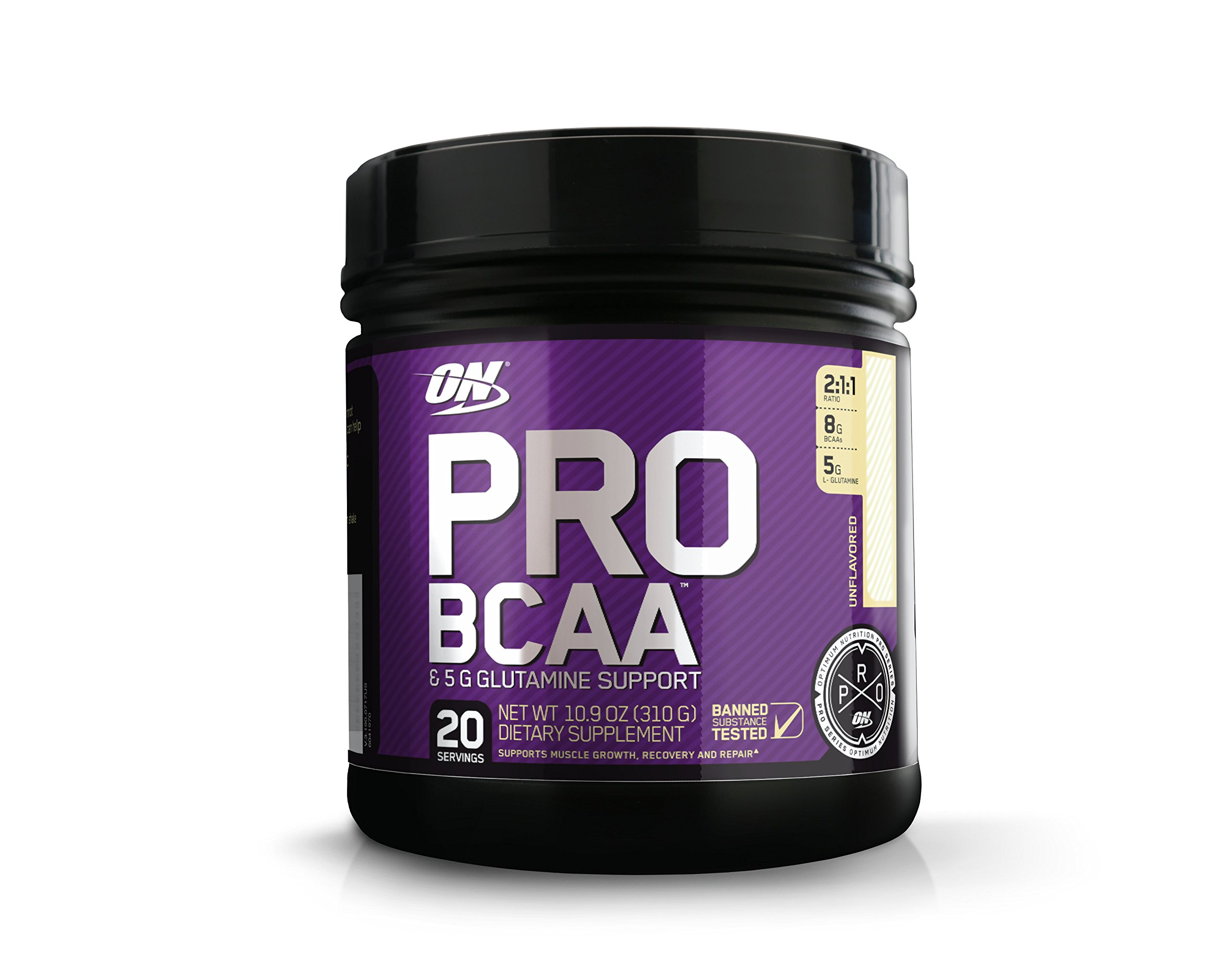 OPTIMUM NUTRITION Pro BCAA Powder with Glutamine, Unflavored, Keto Friendly Branched Chain Amino Acids, 20 Servings, 10.9 Oz (Packaging May Vary)