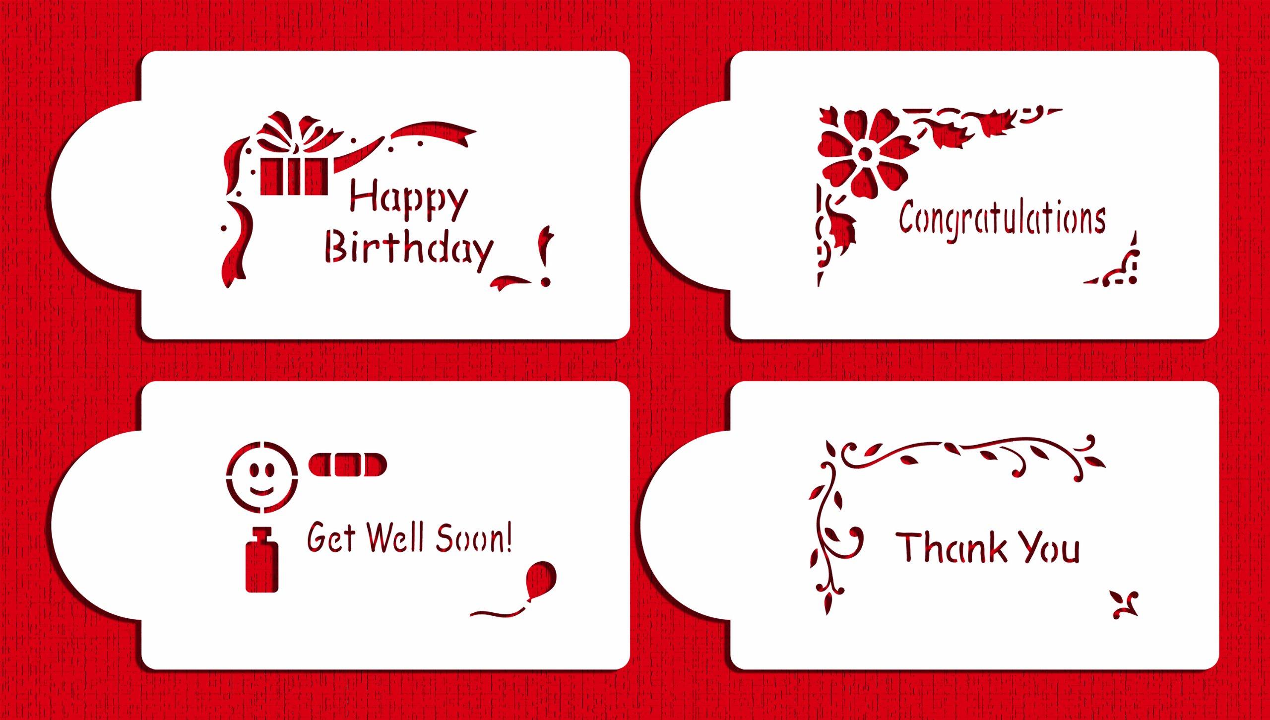 Designer Stencils C309 Celebration Corners Cookie Stencils, (Happy Birthday, Thank You, Congratulations, Get Well Soon), Beige/semi-transparent