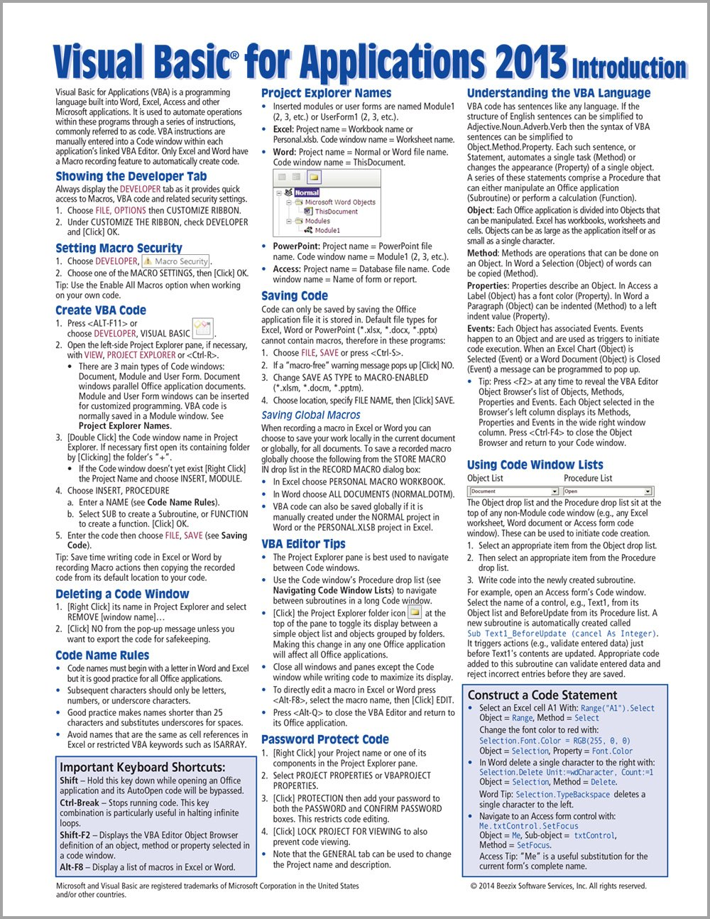 Visual Basic for Applications (VBA) 2013 Quick Reference Guide
