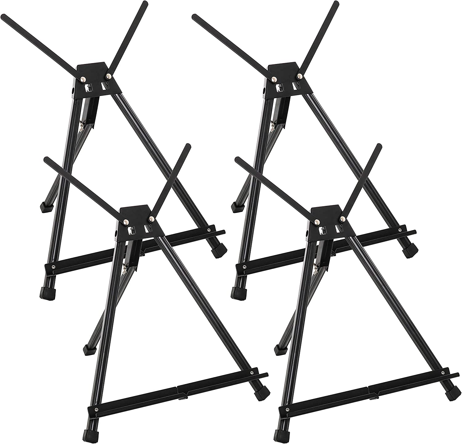 "U.S. Art Supply 15"" to 21"" High Adjustable Black Aluminum Tabletop Display Easel (Pack of 4) - Portable Artist Tripod Stand with Extension Arm Wings, Folding Frame - Holds Canvas Paintings Books Signs"