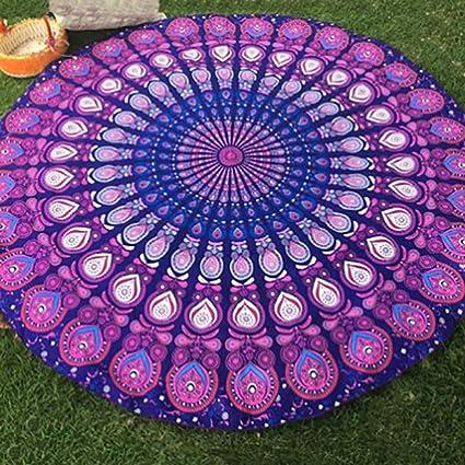 Vacaciones Indio Mandala Redondo Toalla De Playa Diseño Floral / Forma Estampado De Flores Grande Chal