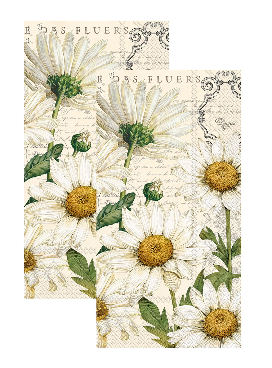 Ideal Home Range 3-Ply Paper Shasta Daisy, 16 Count Guest Towel Napkins, Cream Set of 2