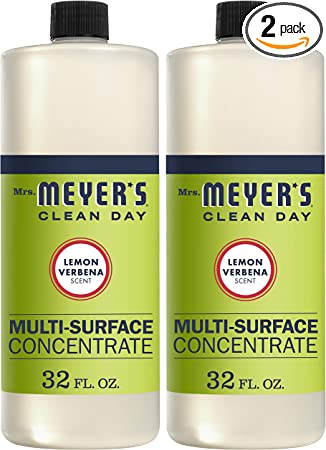 Mrs. Meyer's Clean Day Multi-Surface Cleaner Concentrate, Use to Clean Floors, Tile, Counters, Lemon Verbena Scent, 32 Oz - Pack of 2