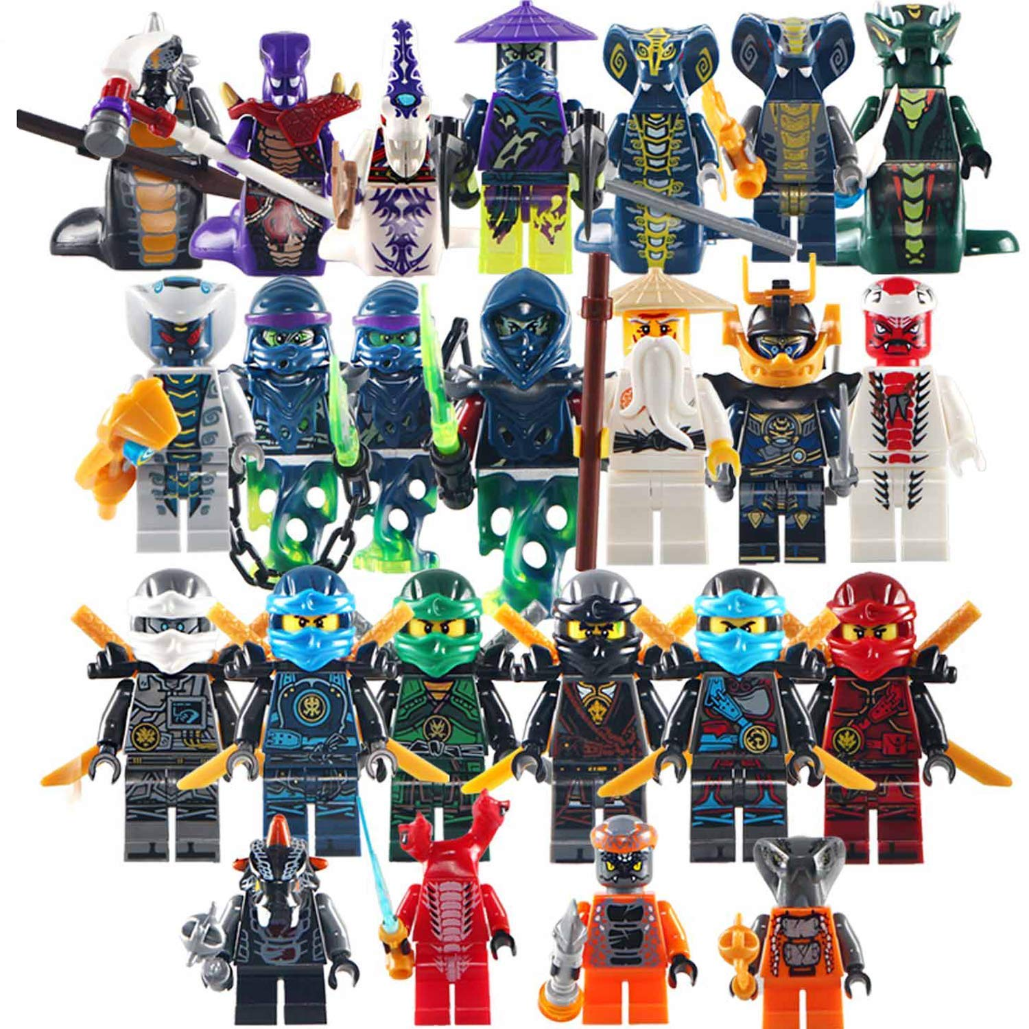 24Pcs Ninjago Mini figure Kai Jay Sensei Wu Master Building Blocks Toy gifts