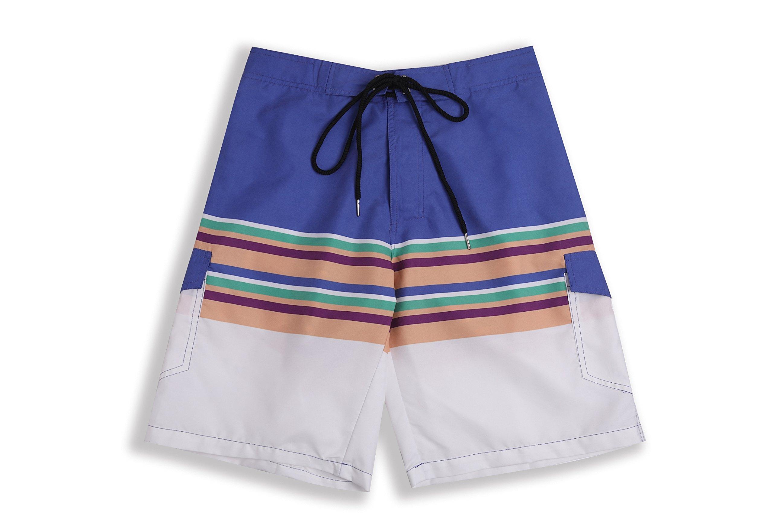 Hopioneer Men's Striped Beach Shorts - Quick Dry Swimwear Board Shorts with Pockets