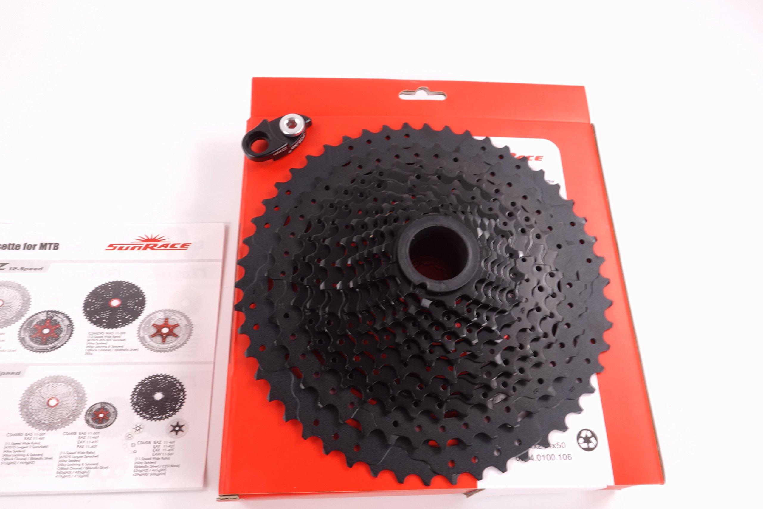 Sunrace 12-speed 11-50T cassette freewheel CSMZ90 WA5 wide ratio MTB in Black with RD extender by JGbike (Image #5)