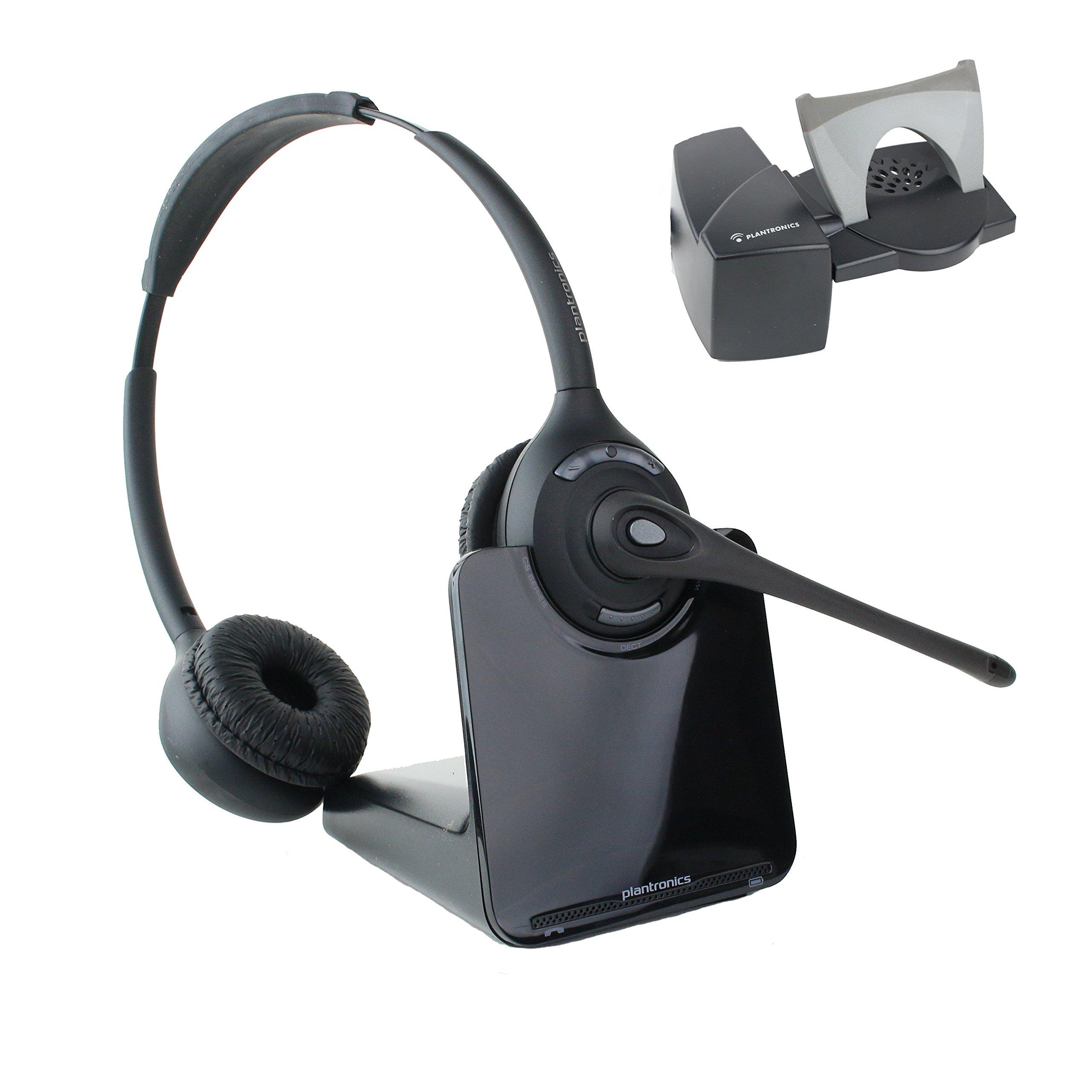 Plantronics CS520 Binaural Wireless Office Headset With Lifter (Certified Refurbished)