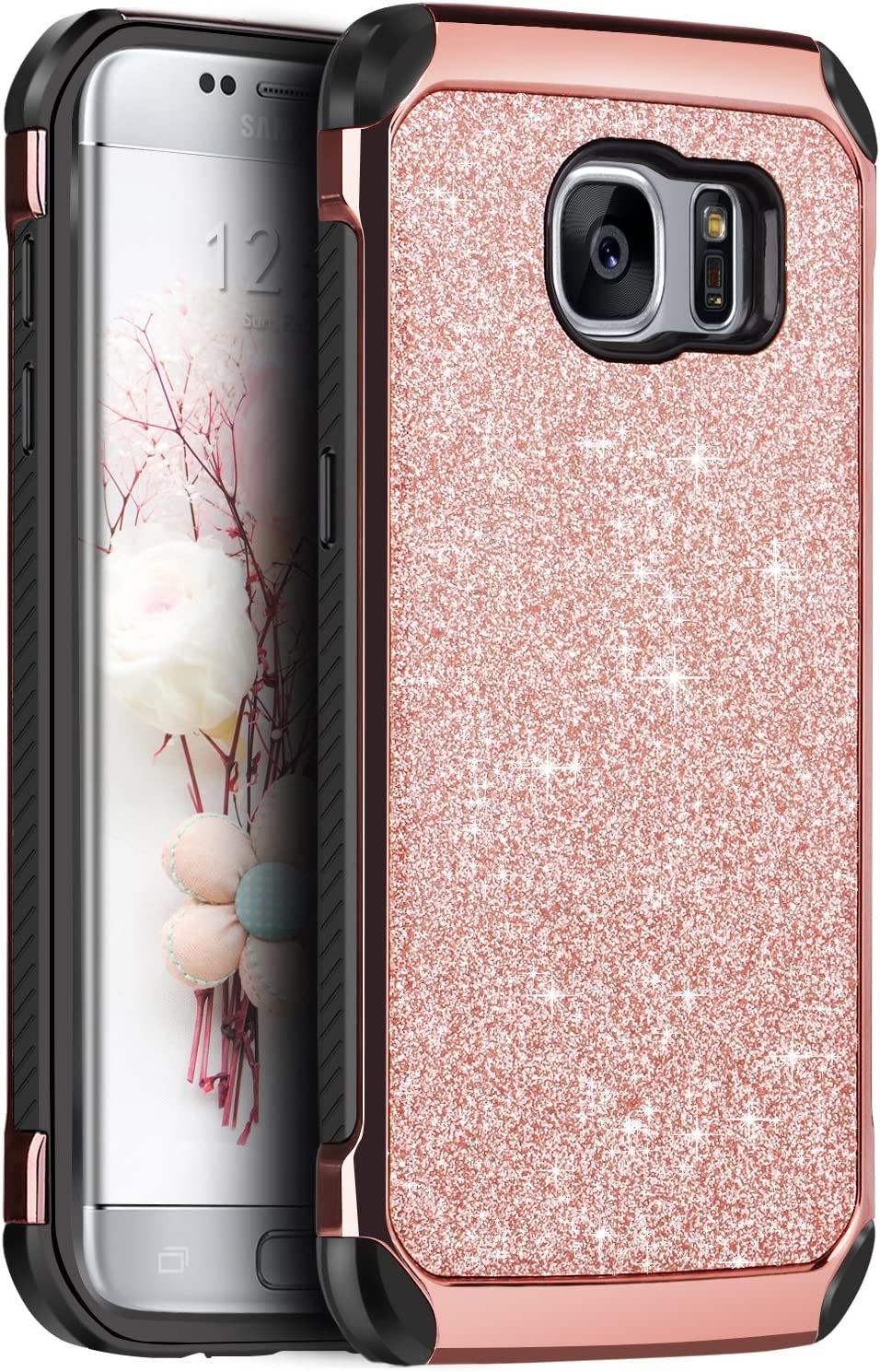 Case for Galaxy S7 Edge, BENTOBEN Luxury Glitter Bling 2 in 1 Hybrid Hard Covers Laminated Sparkly Shiny Faux Leather Chrome Shockproof Bumper Protective Case for Samsung Galaxy S7 Edge, Rose Gold