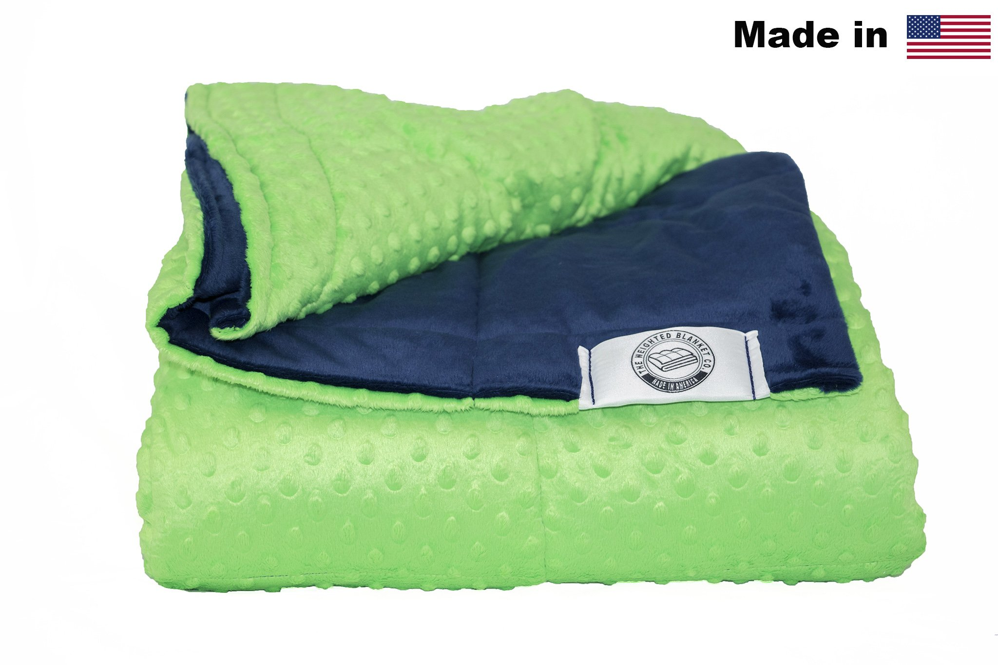 Kids Minky Weighted Blanket -Made In America- Many Sizes & Colors (Navy/Lime, 10lb 42x54)