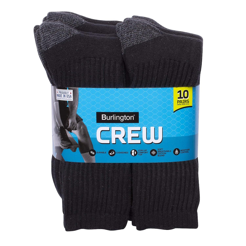 22917d5bc3527 Amazon.com: Burlington Men's Cotton Crew Socks Comfort Power (10-Pack),  Black, Size 10-13/Shoe Size 6-12: Clothing