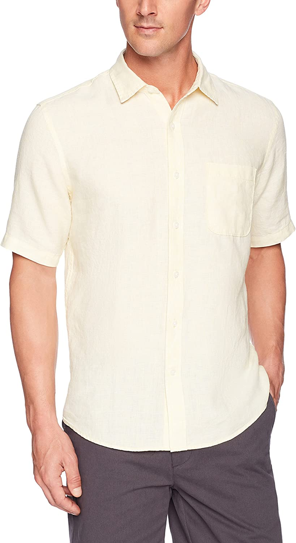 Regular Fit Camicia da uomo a maniche corte Essentials in lino