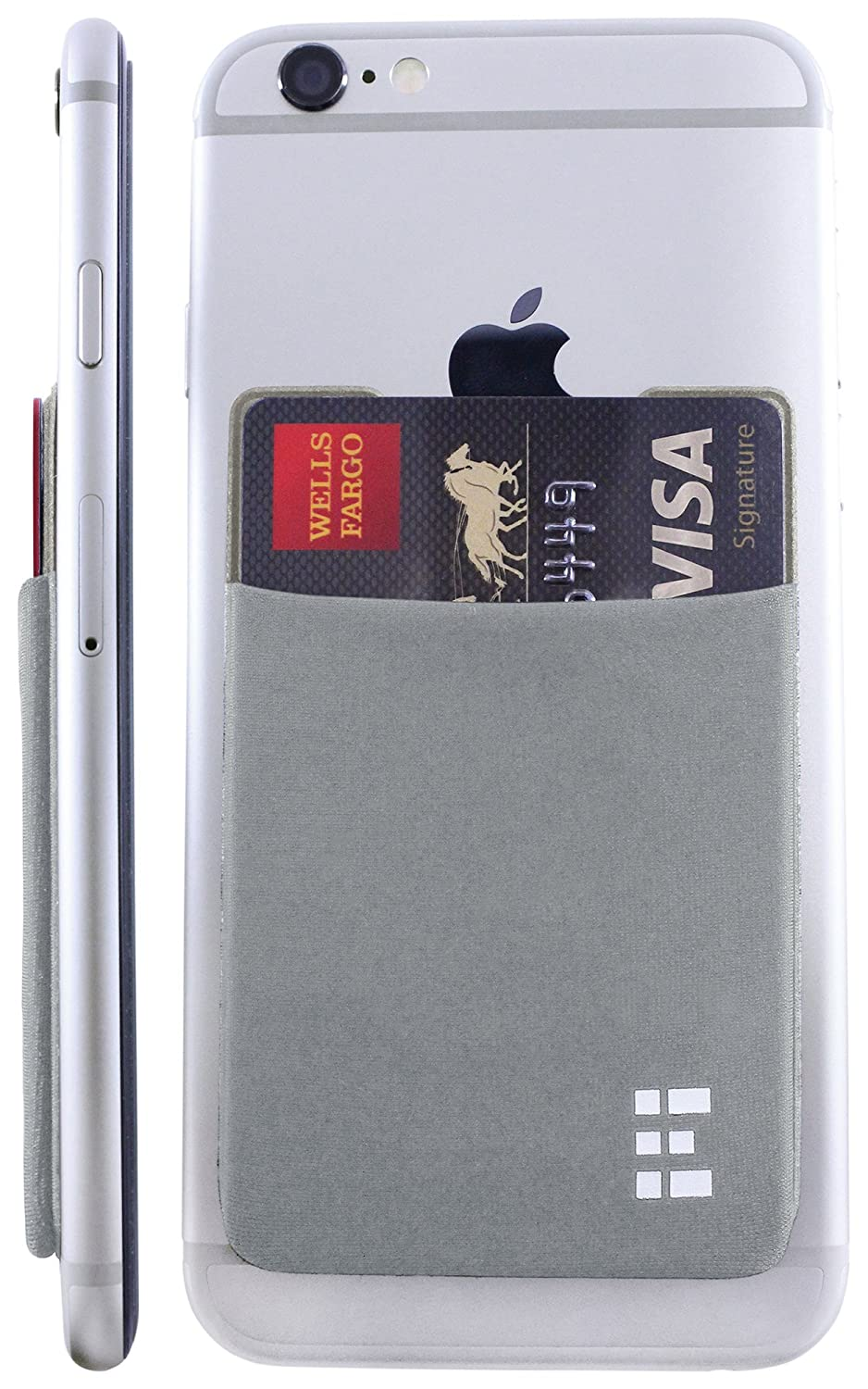Cell Phone Credit Card Holder Stick On Wallet Case w/ RFID Blocking (Silver)