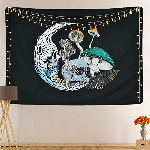 Skull Moon Tapestry Mushroom Tapestry Colorful Mushroom Tapestry Skeleton Tapestry Fugus Black Background Tapestry for Room (51.2 x 59.1 inches)