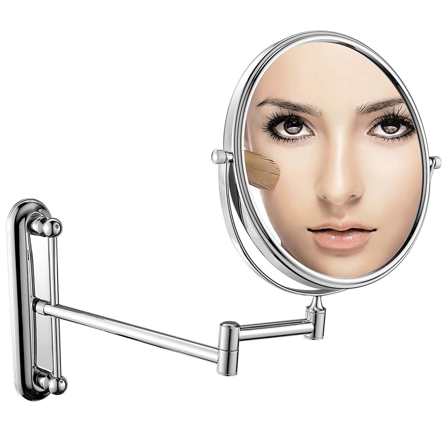 GuRun 7x Magnification Adjustable Round Wall Mount Mirror 6-inch Double Sided Makeup Mirrors,Chrome Finish M1806 6in,7x
