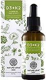 Vitamin D3 + K2 Tropfen 50ml. Pflanzlich & vegan. Premium: D3 aus Flechten & VitaMK7 von Gnosis. 1000 IE Vitamin D3 + Vitamin K2 MK-7 >99% All Trans. Flüssig, hochdosiert, hergestellt in Deutschland